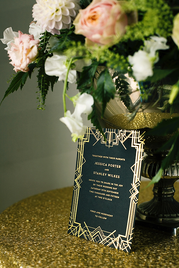 Art Deco Gold Foil Wedding Invitations