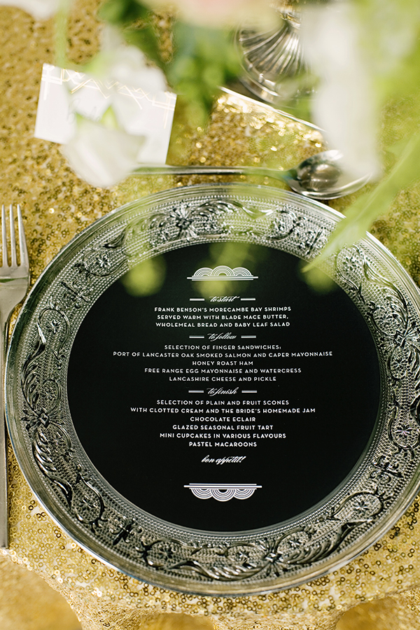 Round Black Wedding Menu
