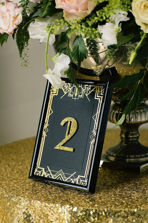 Gold and Black Wedding Table Number