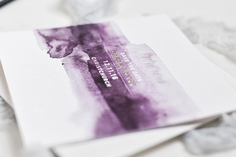 purple watercolour wedding invites