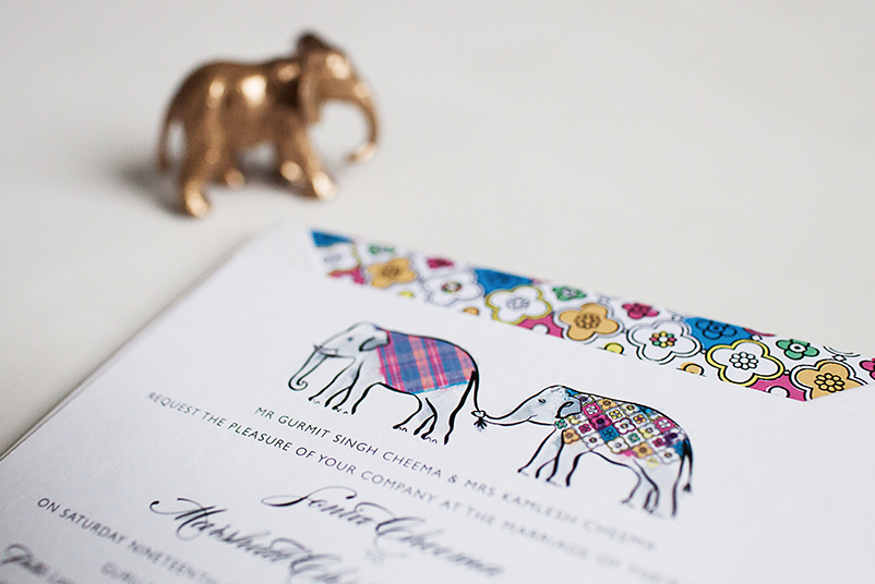 elephant wedding invite design