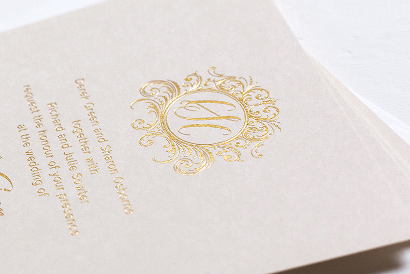 blush and gold wedding invites