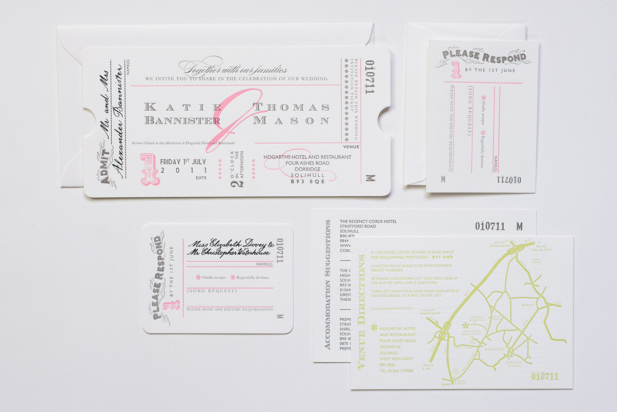 pink wedding ticket invites