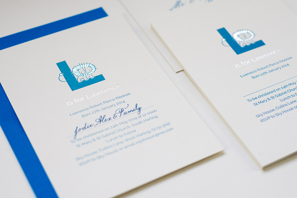 blue and silver christening invites