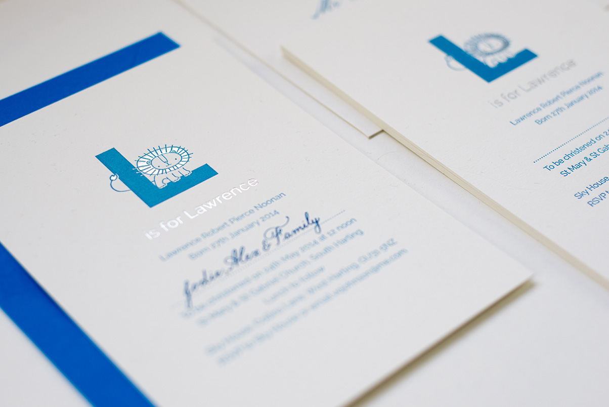 lion invitation and blue calligraphy
