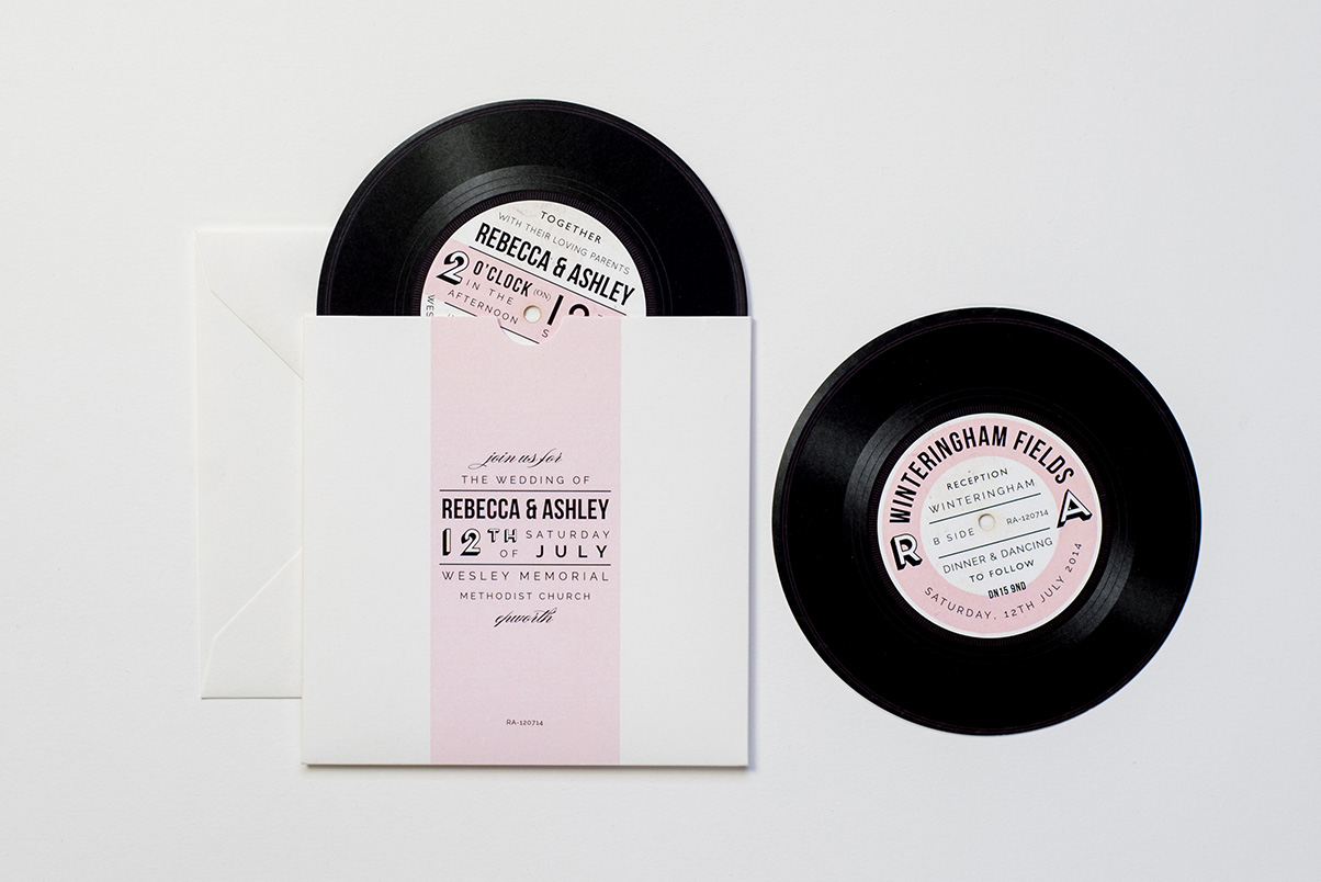 vinyl record invitations