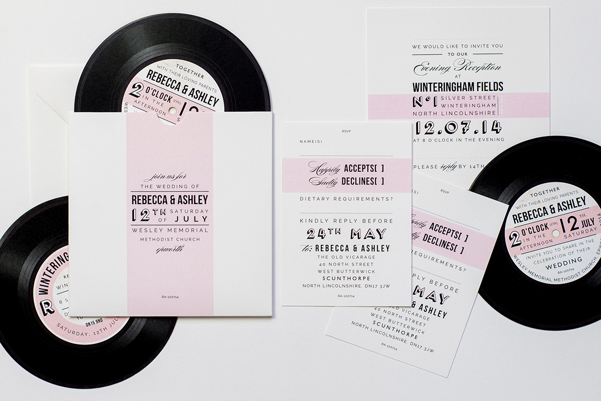 music record wedding stationery