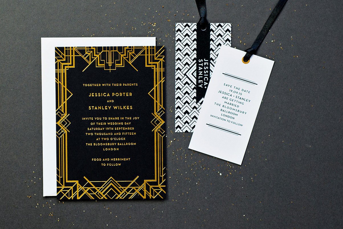 Gold wedding save the date
