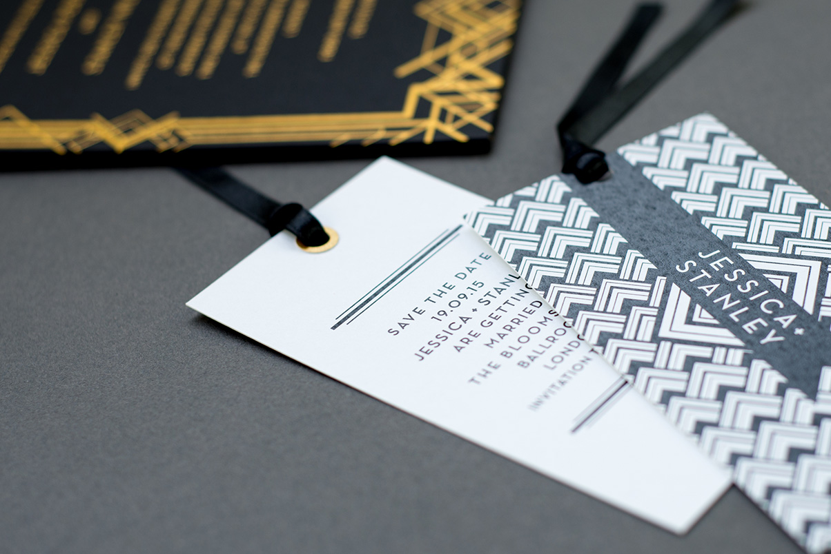 Gold Art Deco wedding invitation