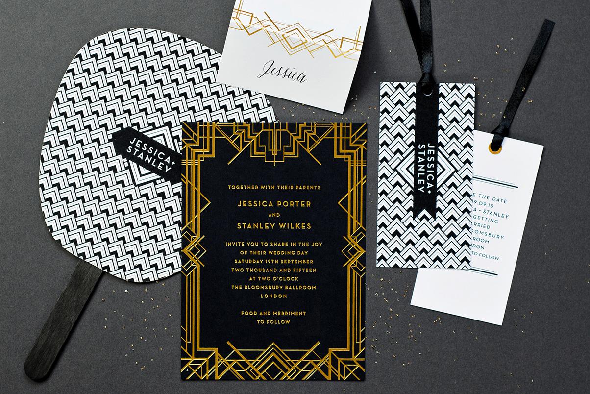 Gold Art Deco wedding stationary UK