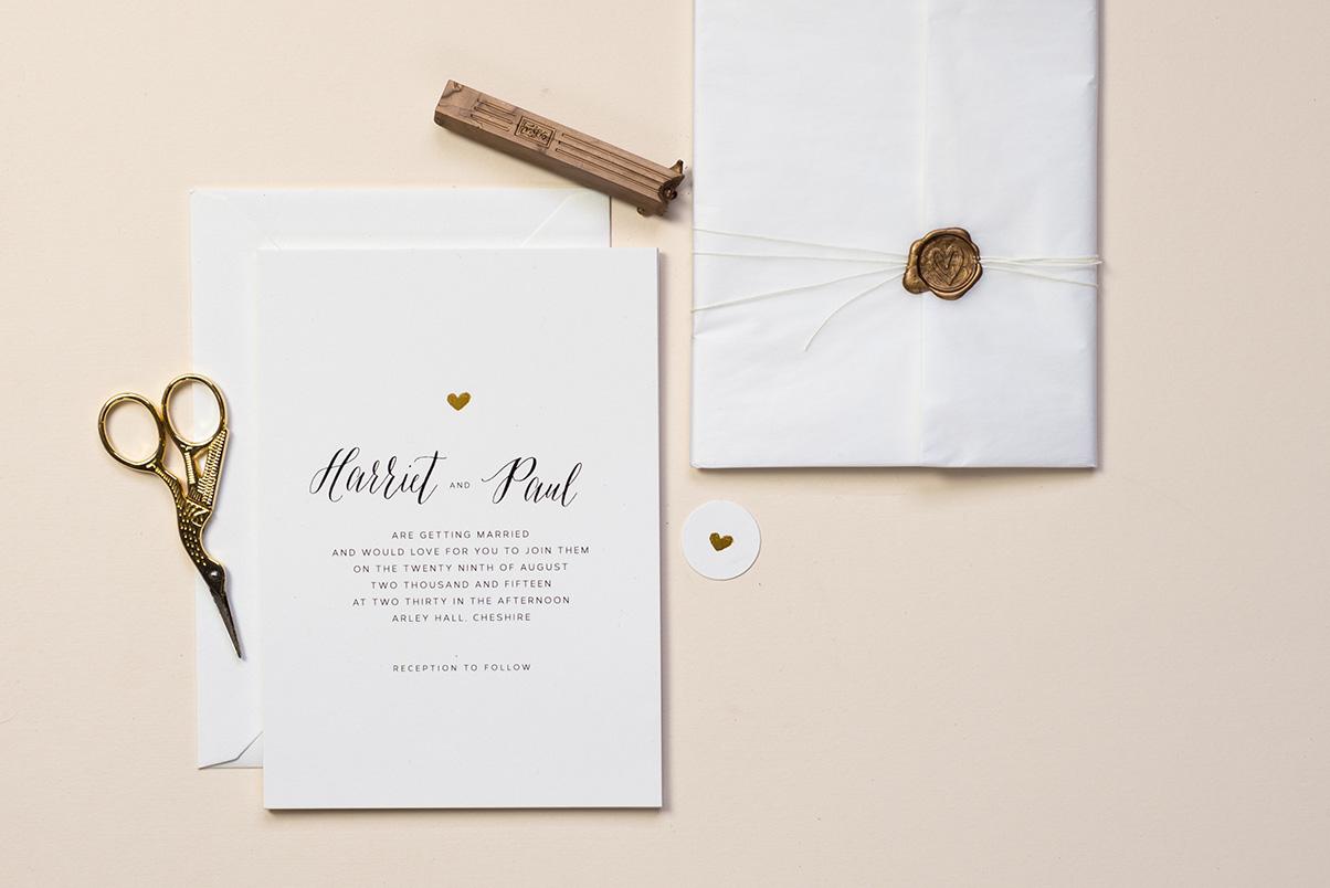 gold heart wedding invitations