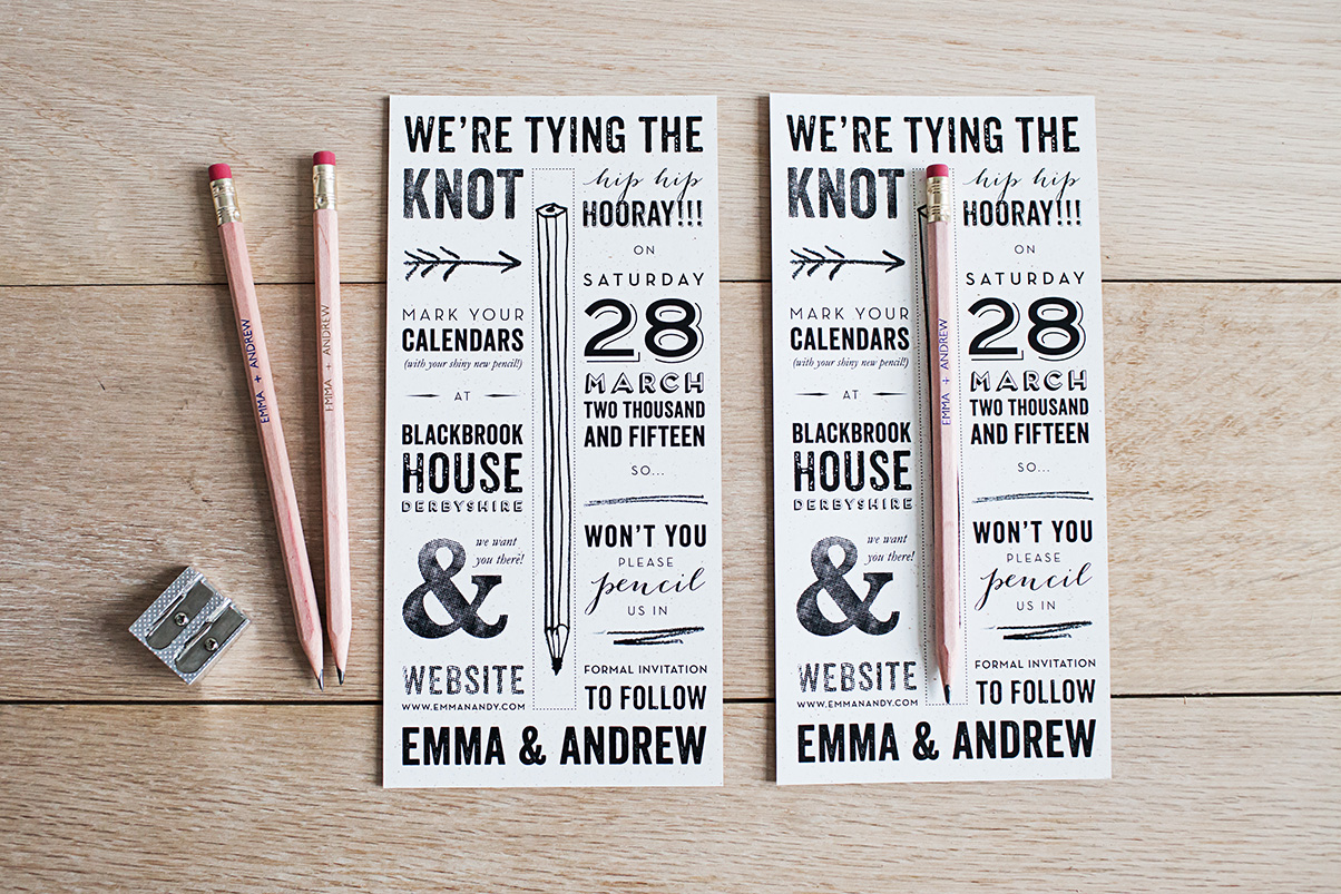 Pencil Us In - Save the Date wedding invitation and stationery