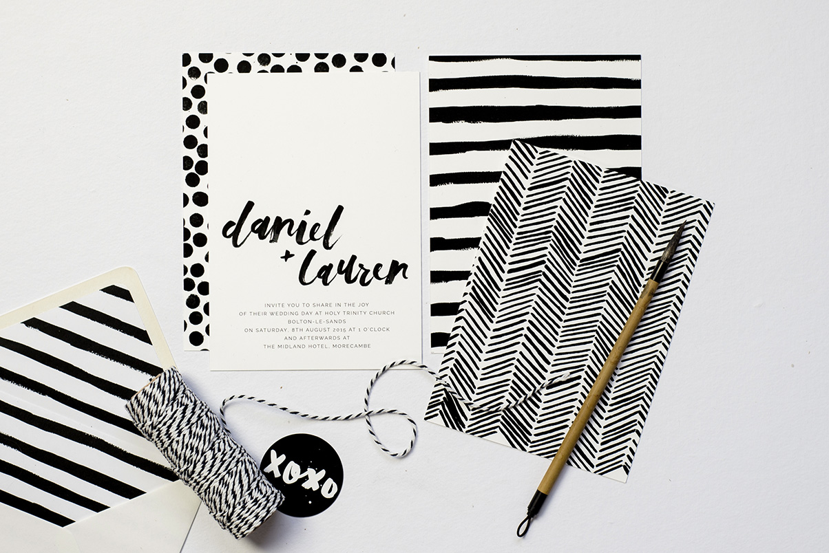monochrome wedding invitations and stationery