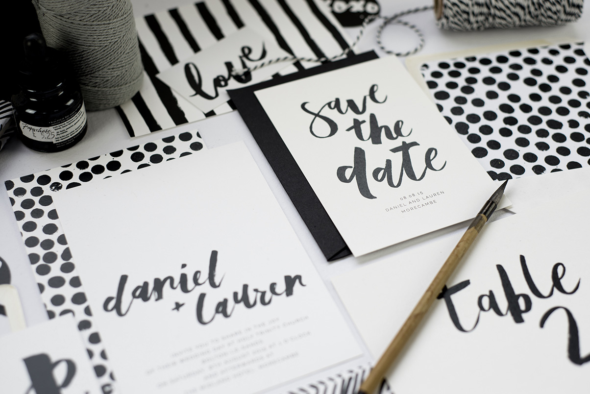 custom brush lettering, wedding invitations and stationery