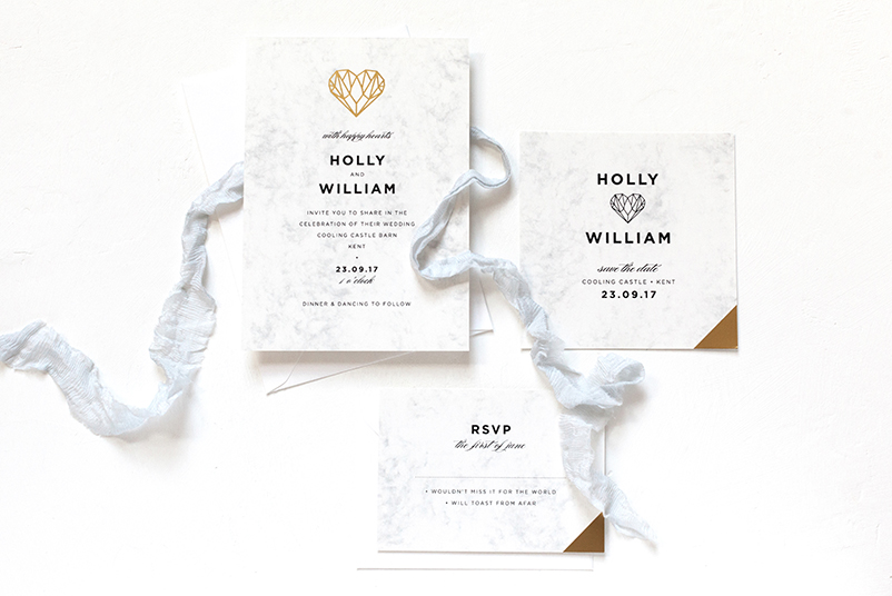 gold heart wedding invitations