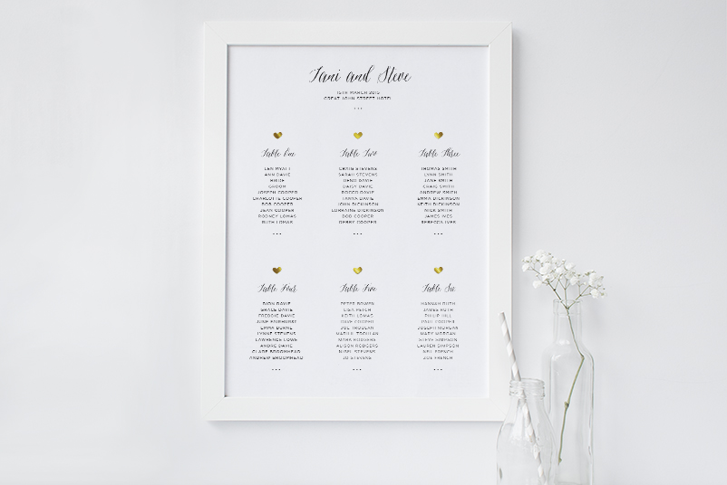 gold heart table plan