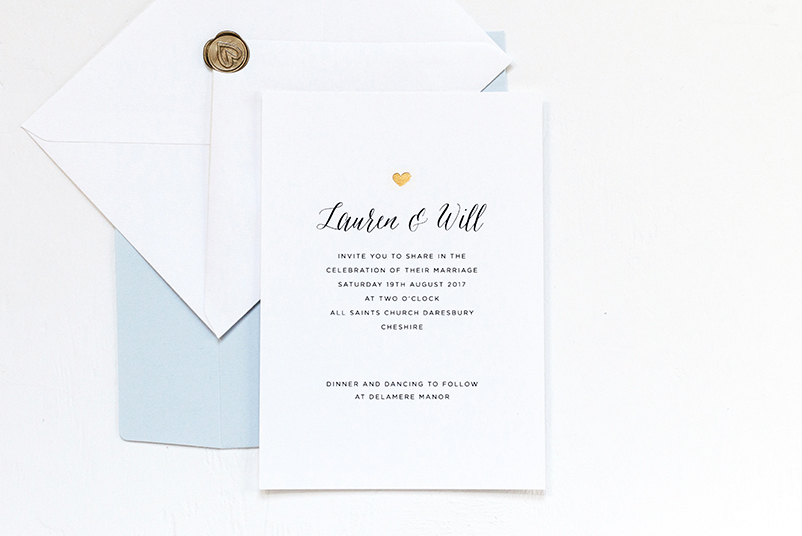 gold heart wedding stationery