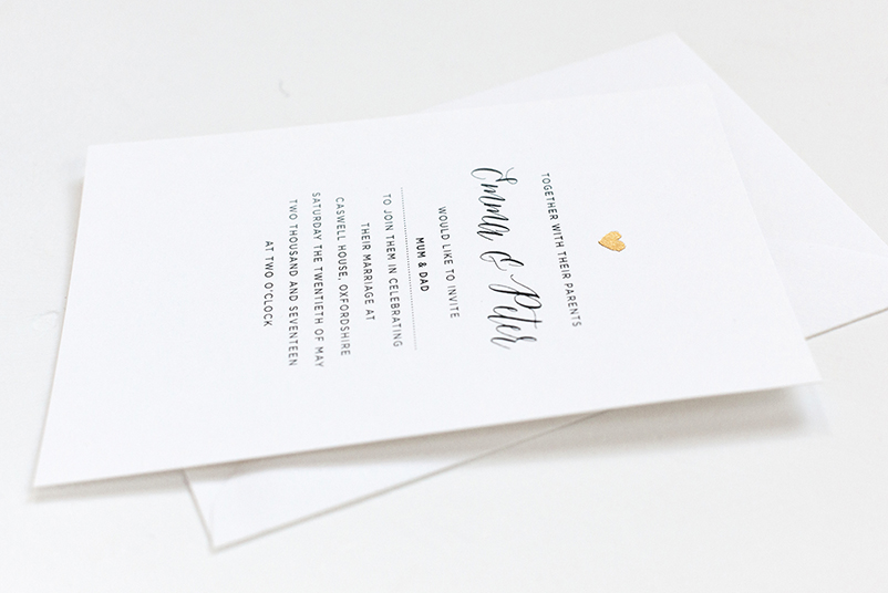 little gold heart wedding invitation