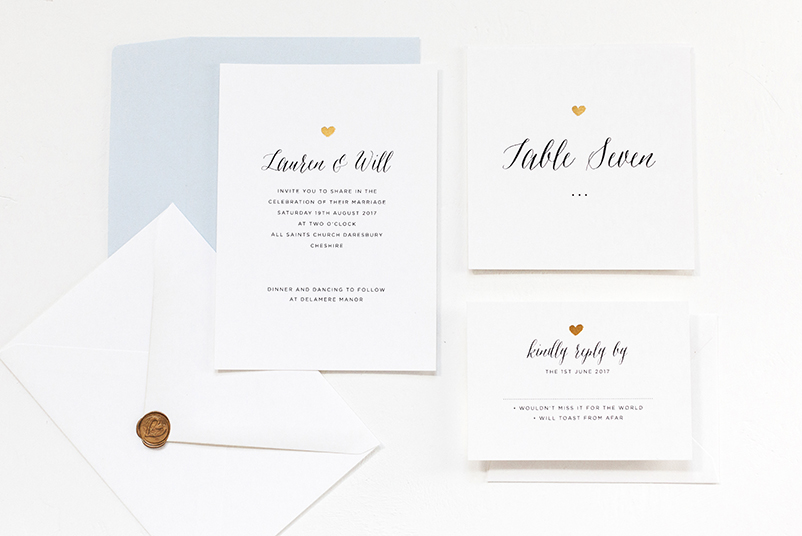 gold heart wedding save the date
