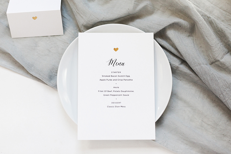 gold heart wedding menu