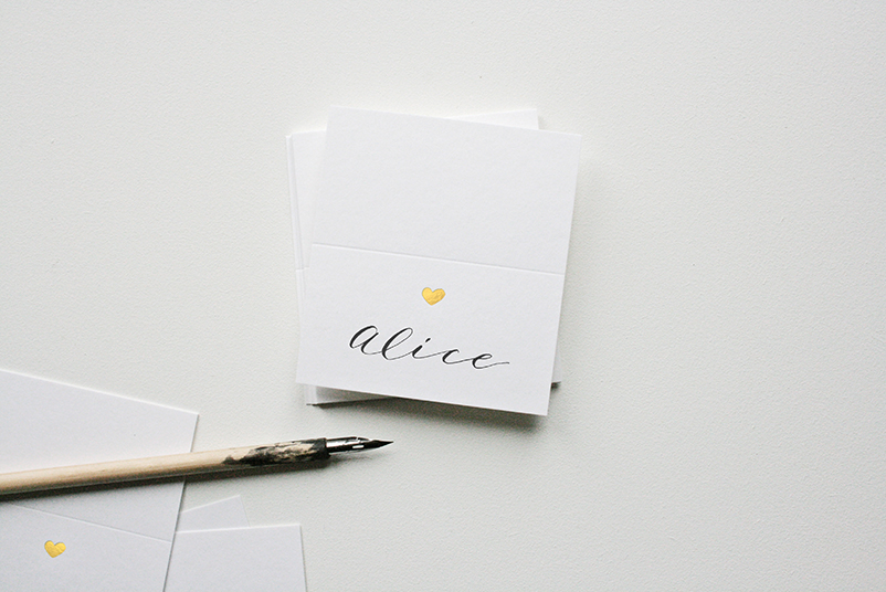 gold heart place card