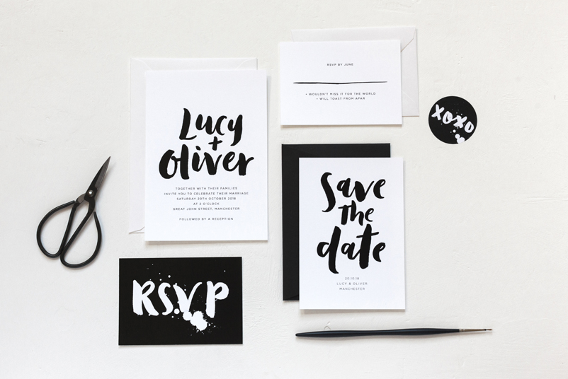 modern monochrome wedding invitations
