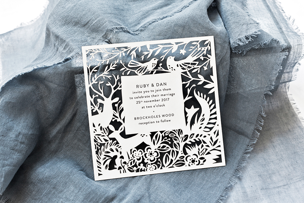 Laser Cut Wedding Invites Woodland