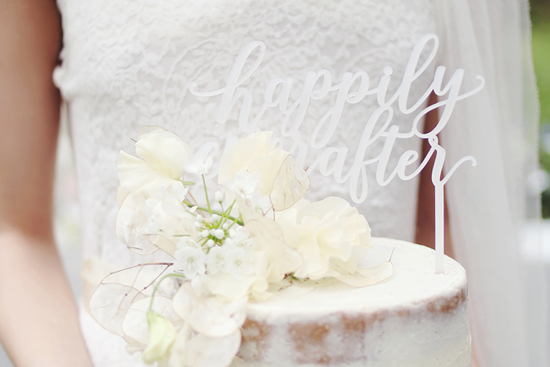 Happily Ever After Cake Topper White