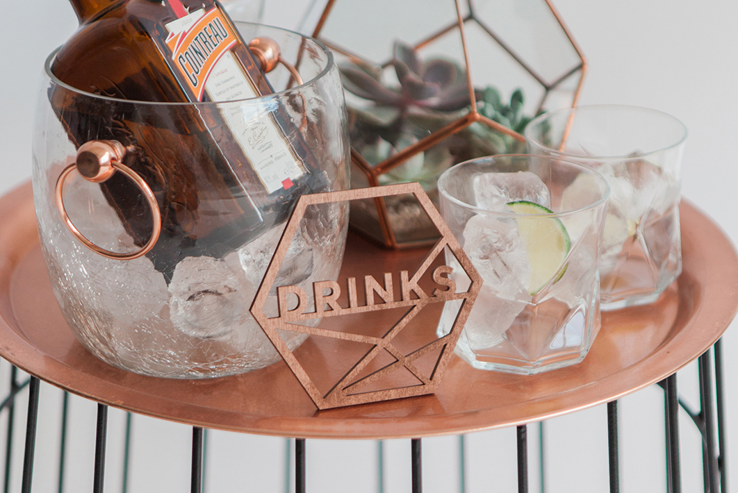 Copper Drinks Cocktail Sign Geometic