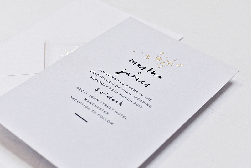 vintage, typographic wedding invitations