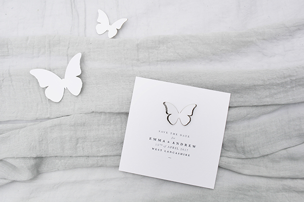 'Flutter' Save the Date with paper butterflies