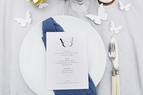 Butterfly wedding menu by Emma Jo Stationery.